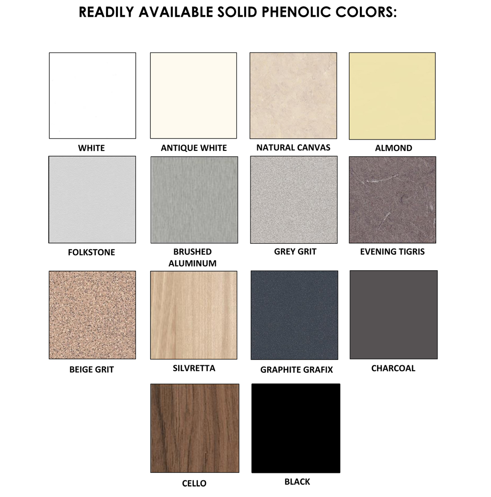 Partition Phenolic Color Chart
